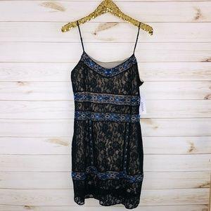 NWT Guess Ebony & Blue Lace & Beaded Dress